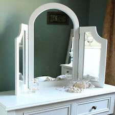 Wooden White Triple Dressing Table Mirror Vintage Style Bedroom Home Furniture