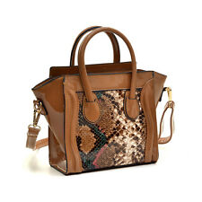Mini Patent Faux Leather with Snakeskin Detail Satchel