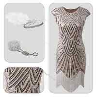 1920s Flapper Fancy Costume Gatsby Charleston Beaded Sequin Fringe Dress 8 16 20