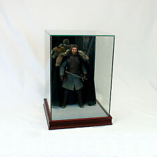 "1/6 Scale Comic Figurine Display Case 14"" Tall All Glass Cherry Sport Moulding"