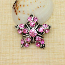 NEW Rhinestone Pink Star Charm Chunk Snap Button fit for Noosa Bracelet KOA41