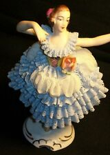 Antique German Porcelain Victorian Dresden Lace Ballerina Lady Dancer Figurine