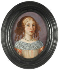 """""""Portrait of a young woman"""", Spanish oil on copper miniature, 1650/60"""