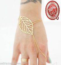 Valentine America fashion Womens gold plated leaf mittens chain rings bracelet