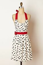 NWT ANTHROPOLOGIE POLKA PLEATS APRON COTTON BLACK IVORY RED BOW