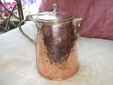 ANTIQUE HAMMERED COPPER COFFEE HOT WATER POT BRASS HANDLE IRON RIVETS ARM LID
