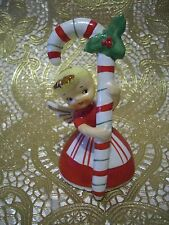 VTG Napco Christmas Girl Pixie Angel Holds  Candy Holly Cane  w OTag Bell Figure