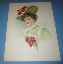 Old Vintage 1908 - Antique VICTORIAN PRINT - Lady - RED CARNATION Flower HAT
