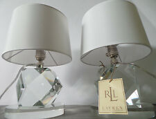 RALPH LAUREN PAIR FACETED LAMPS CRYSTAL WHITE SHADE SIGNED DESK TABLE EVANNA NEW