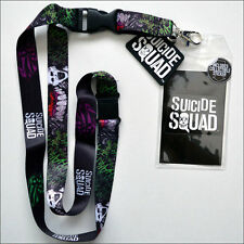 Suicide Squad Joker DC Comics Lanyard Necklace ID Holder Keychain with Sticker