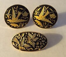 Vintage Damascene Clip On Earrings And Brooch Pin Set