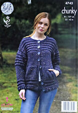 KNITTING PATTERN Ladies Long Sleeve Round Neck Cardigan Chunky 4743 King Cole