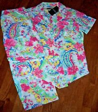NWT Ralph Lauren White/Pink/Blue FLORAL PAISLEY Pajamas CAPRIS/Top Set L LIGHT