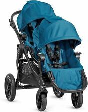 2016 Baby Jogger City Select Twin Tandem Double Stroller Teal w/ Second Seat