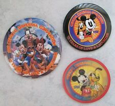 "1998 Official DISNEYANA CONVENTION  ""75 Years"" Pin-back Buttons /Set of 3"