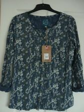 MANTARAY NAVY GREY FLORAL PRINT PLEATED FRONT SHIRT UK 20, EUR 46-48, US 16 NWT