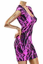 LARGE UV Glow Pink Lightning Cap Sleeve Bodycon Clubwear Dress Ready To Ship!