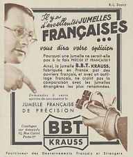 Z9902 Jumelles Française BBT KRAUSS -  Pubblicità d'epoca - 1937 Old advertising