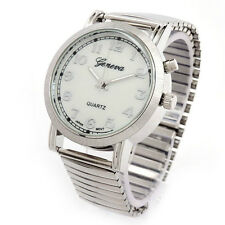 Silver Night Light Geneva Easy To Read Women's Stretch Band Watch