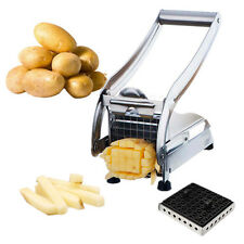 HOT Stainless Potato Chipper French Fries Slicer Chip Cutter Chopper + 2 Blades