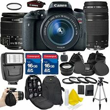 Canon EOS Rebel T6S Camera + 18-55mm IS + 75-300mm III Lens Accessory Bundle