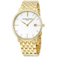 Frederique Constant Silver Dial Yellow Gold Plated Men's Watch FC220V5S5B