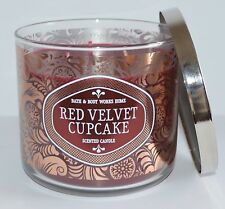 BATH BODY WORKS RED VELVET CUPCAKE CANDLE 3 WICK 14.5 OZ LARGE FROSTING VANILLA