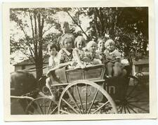 Gang of Kids Boy Girls With Doll in Little Horse Wagon 2 Vintage 1940s Photos