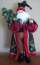 SANTA CLAUS figurine CHRISTMAS DOLL mantle decoration RED BROWN pine cones birds