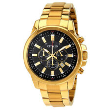 Citizen Urban Black Dial Mens Gold Tone Chronograph Watch AN8082-54E