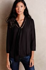 ANTHROPOLOGIE HD in Paris NWT Astral Tie-Neck Blouse Top Black Sz 0 Fits 2 $88