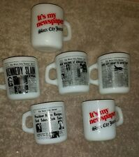 6 RARE VINTAGE MILK GLASS SIOUX CITY JOURNAL MUGS FREE SHIPPING