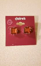 CLAIRE'S ACCESSORIES FUN PINK SQUARE STUD EARRINGS