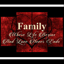 RED TONED CREAM CANVAS FAMILY QUOTE WRITING PICTURE 4 PANEL SPLIT WALL ART 110cm