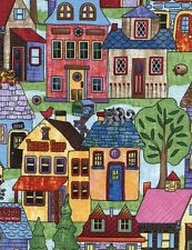 HIGH STREET Fabric Fat Quarter Cotton Craft Quilting TOWN HOUSES Home Sweet Home
