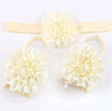 1set/3Pcs  Baby Infant Headband Foot Flower Elastic Hair Band Accessories Beige1