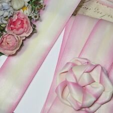 1y VTG PINK YELLOW OMBRE MATTE SATIN RIBBON TRIM MILLINERY HAT FLOWER WORK DOLL