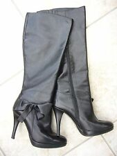 Black winter heels boots natural leather bow size 3.5