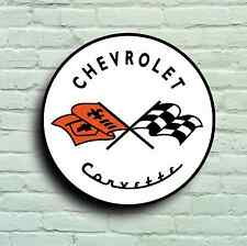 CHEVROLET CORVETTE BADGE LOGO 2FT LARGE GARAGE SIGN USA AMERICAN CLASSIC CAR