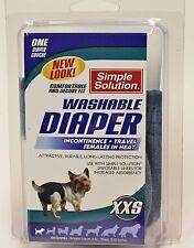 XXS Simple Solution Washable Blue Jean Dog Puppy Up to 4lbs Diaper Cover Up NEW
