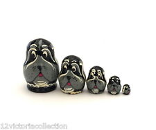 BLACK DOG Russian Hand Carved Hand Painted miniature Nesting DOLL animal