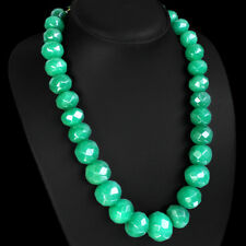 FASHION EXCELLENT RARE 1038.00 CTS NATURAL FACETED GREEN EMERALD BEADS NECKLACE