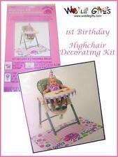 Unique 1st Birthday High Chair Decorating Kit Set - Pink for Girls