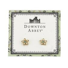 Downton Abbey Gold-Tone Simulated Pearl &Turquoise Color Flower Earrings18037