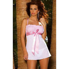 Elegant Moments Sexy Gingham and Mesh Pink Babydoll with Ribbon Detail, Medium