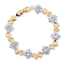 Pretty bling chain! 18k Multi-Tone Gold comely sapphires girly bracelet 8.07''