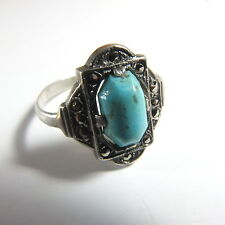Fab Art Deco Solid Silver Turquoise Marcasite Ring UK Ring Size R.5 Marked 935