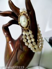 vntg antique CARVED CAMEO BRACELET mother of pearl 3 STRAND mop beads VICTORIAN