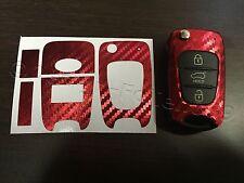Carbono Cromo Rojo Lámina Llave Hyundai p.ej. i10 i20 i30 ix35 ix20 Elantra