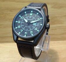Mens Black Grayton Harrier Leather Military Pilots Easy-to-Read Watch 005.5